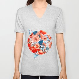 Geometric Flowers and Bees Unisex V-Neck