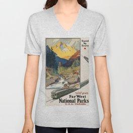 Vintage poster - National parks Unisex V-Neck