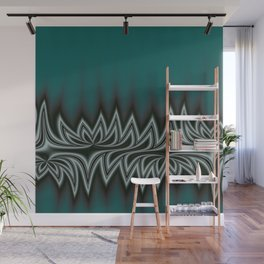 Fractal Tribal Art in Pacific Teal Wall Mural