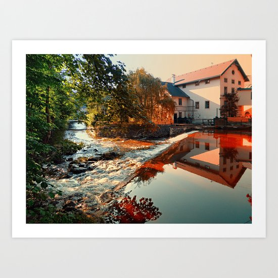 The river, a country house and reflections | waterscape photography Art Print