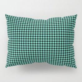 Aqua Blue And Black Hounds-tooth Check Pillow Sham