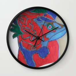 Red horse abstract modern paitings by Christian T. Wall Clock