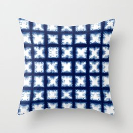 Indigo Shibori Granny Squares Throw Pillow