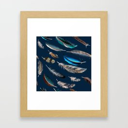 Feather blue. In fashion. Trendy pattern Framed Art Print
