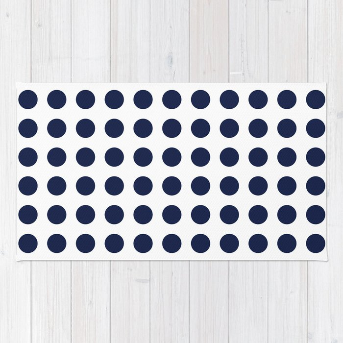 Simply Polka Dots in Nautical Navy Blue Rug