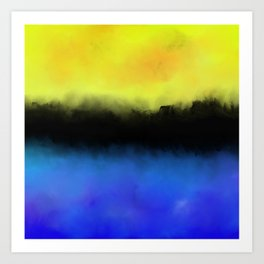 Separation - Abstract in black, blue and yellow Art Print