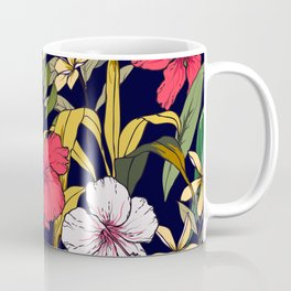 Tropical Island Oasis Floral Pattern Coffee Mug