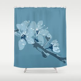 Blue Cherry Blossoms Shower Curtain