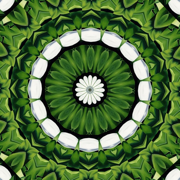 Tropical Green and White Floral Mandala Comforters