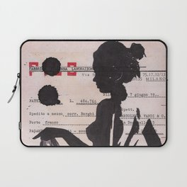 Emma - ink drawing over vintage commercial invoice Laptop Sleeve