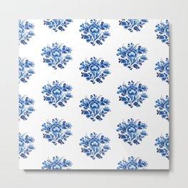 Delft Blue Floral Metal Print