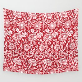 "William Morris Floral Pattern | ""Pink and Rose"" in Red and White Wall Tapestry"