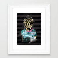 hipster lion Framed Art Prints featuring Hipster Lion on Black by Brewer Arts
