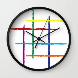 Grunge rainbow lines Wall Clock