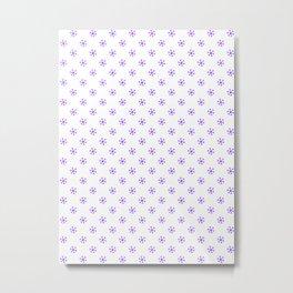 Indigo Violet on White Snowflakes Metal Print