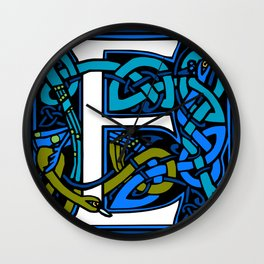 Celtic Peacocks Letter E Wall Clock