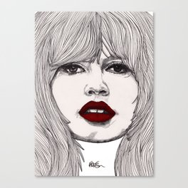 Brigitte with Red Lips Canvas Print