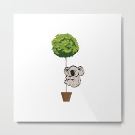 Koala Climbing to Tree Metal Print