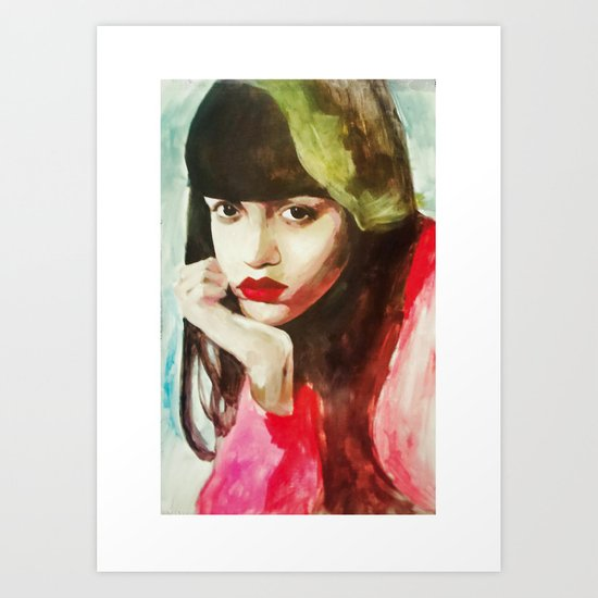Girl with red lipstick Art Print