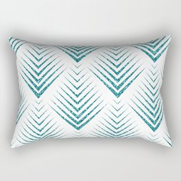 Art-deco Turquoise & White Geometric Patern Rectangular Pillow