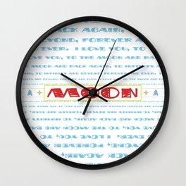 Retro Rocketship - Love you to the moon... - Typography Wall Clock