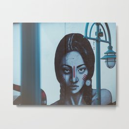 Indian girl mural Metal Print