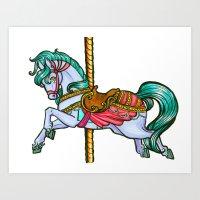Pastel Carousel  Art Print
