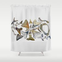 teeth Shower Curtains featuring Shark teeth by Pistachia