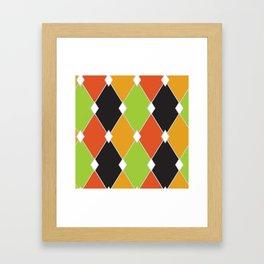 Orange, green and black jester diamonds Framed Art Print