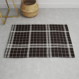 Back to Schoo l- Simple Handdrawn Grid Pattern - Black & White - Mix & Match with Simplicity of Lif Rug