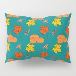 Autumn Leaves and Pumpkins Fall Illustration Pattern Pillow Sham