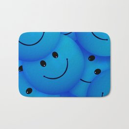 Fun Cool Happy Blue Smiley Faces Bath Mat