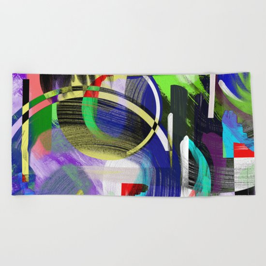 Try To Make Sense Of It All - Random, geometric, eclectic, abstract, colourful art Beach Towel