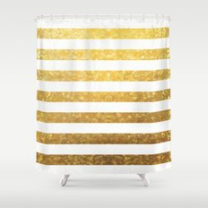 White and Gold Stripes  Shower Curtain