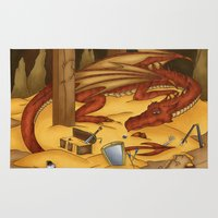 smaug Area & Throw Rugs featuring Smaug, the last dragon by danielasynner