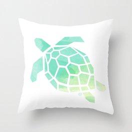 green sea turtle, watercolor, geometric & minimalism Throw Pillow