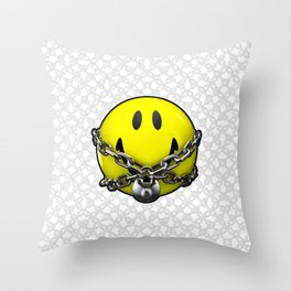 Quit Your Grinning / 3D chained up smiley Throw Pillow