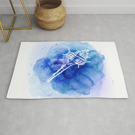 Blue Abstract Watercolor Seashell Rubber Stamp on White 2 Minimalist Coastal Art Rug