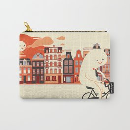 Happy Ghost Biking Through Amsterdam Carry-All Pouch