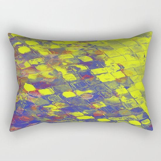 Take The First Step - Abstract, blue and yellow pattern Rectangular Pillow