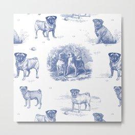 Classic Blue PUG DOGS Metal Print
