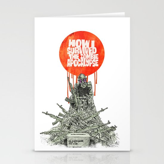 How I Survived The Zombie Apocalypse (colour option) Stationery Cards