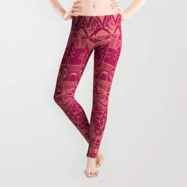 Mountain Tapestry in Sunset Pink Leggings