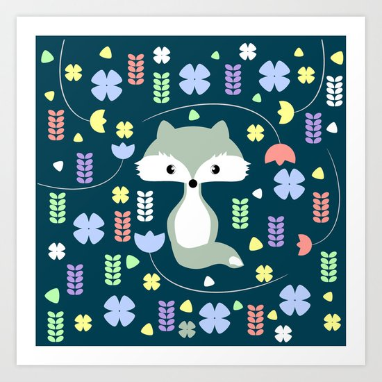 Fox among flowers Art Print