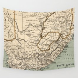 Vintage Map of South Africa (1889) Wall Tapestry