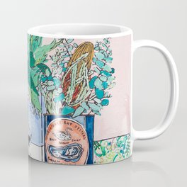Jungle Botanical in Colorful Cans on Pink - Still Life Coffee Mug