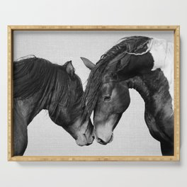 Horses - Black & White 4 Serving Tray