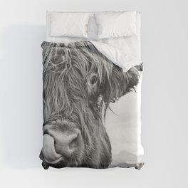 Cute Highland Cow Black & White #1 #wall #art #society6 Duvet Cover
