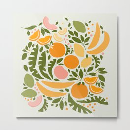 Modern Fruits / Retro Abstraction Metal Print