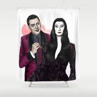 selena gomez Shower Curtains featuring Gomez & Morticia by Myrtle Quillamor